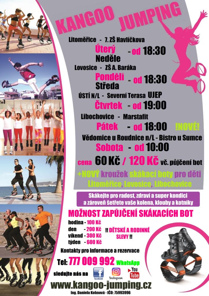 Rozpis hodin kangoo jumping Litoměřice, Lovosice, Libochovice, Vědomice, Ústí nad Labem