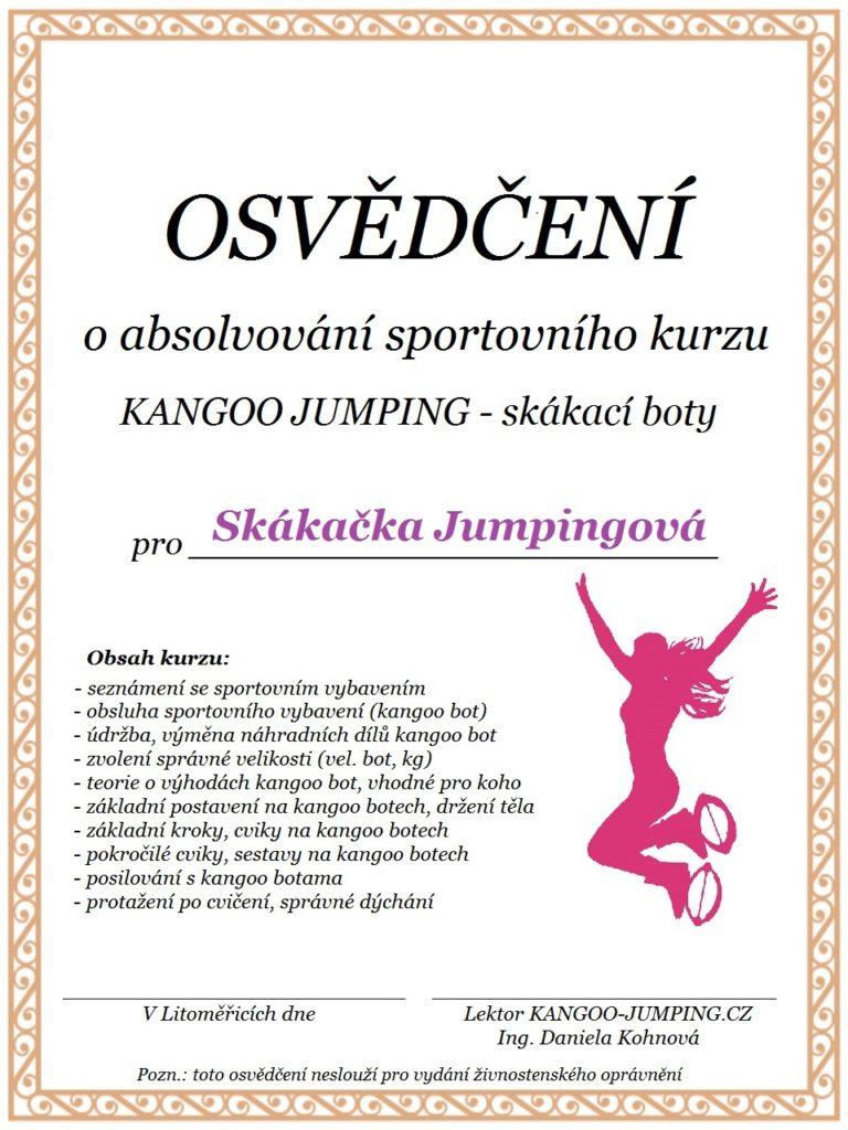 Osvědčení o absolvování kurzu KANGOO JUMPING